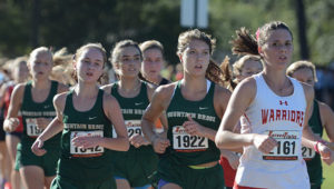 The Mountain Brook High School girls cross-country team won the Hoover Invitational, held Thursday, Oct. 19, 2017, at Veterans Park in Hoover.