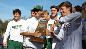 The Mountain Brook High School boys cross-country team secured the Class 7A state title at the AHSAA State Cross Country Championships on Saturday, Nov. 11, at Oakville Indian Mounds Park in Oakville.